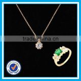 Artificial crystal gold ring necklace 2pcs set fineness gem jewelery