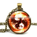Hot 2015 phoenix glass dome cabochon glass dome jewelry special photo glass dome pendant