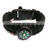 Colorful braided multi-color wholesale paracord survial bracelet with buckle and compass