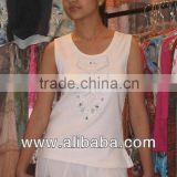 sequins beaded embroidered White T shirts For girls sleeveless T shirts for Womens & girls