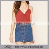 2016 Designs For Women Sexy Deep V-neckline Women Tops With Adjustable Straps Contemporary Cropped Lady Cami Tops