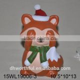 Handpainting orange animal design ceramic fox figurine