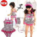 JPSKIRT201508034 Zebra strip backless one-piece kids swimsuit with swimwear hats 2015