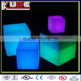 LED illuminated bar furniture plastic cube stool/modern bar stools/clear plastic bar stools