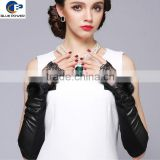 2016 Elegant Mid-long Design Real Sheep Skin Fingerless Real Mink Fur Flower Decoration Women Gloves with Lace Trim