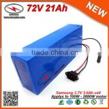 PVC Cased 20S7P Cells 30Amp BMS 2.0Ah Charger 72V Giant Bicycle Battery 20Ah / 21Ah Ebike Battery High Capacity