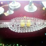 wholesale silver areca leaf sharp handmade crystal charger plates for wedding decoration