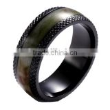 8mm Black Titanium black zirconium Mens Ring Camo inlay Wedding Band