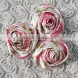 Wholesale handmade high quality floral pattern satin silk flowers boutique items rose artificial for woman dress clothes