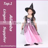 Free shipping , children halloween party hot pink gauze black girl witch dress costume and hat for kid