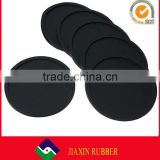 Durable round shape silicone coaster black silicone rubber drink coasters cup mats 10 cm