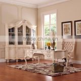 Classy French Baroque Style White Office Bookcase/ Antique Royal Wooden Carving Executive Bookshelf