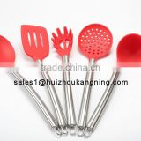 Stainless Steel & Silicone Cooking Utensil Set Spatula, Mixing & Slotted Spoon,Pasta Fork Server, Drainer