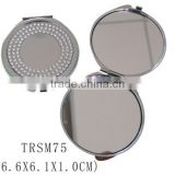 Folding metal bling rhinestone cosmetic pocket mirror double sides compact mirror