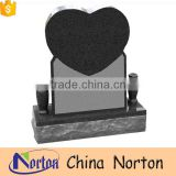 Prefabricated polished carved gray granite stone heart shaped headstone NTGT-072L