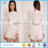 Crochect white lae designs long sleeve two piece sets Lace crop top and short pants designs