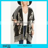 Women's Batwing Sleeve Pullovers Tassels Hem Cloak Poncho Tops Knitting Sweater Coat