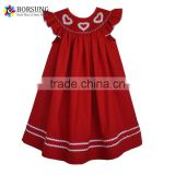 2016 Latest Fashion Dresses Designs Handmade Smocked White Hearts Valentine Red Bishop Dresses