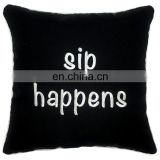 Wholesale embroidery letter with black background with piping cushion pillow for outdoor
