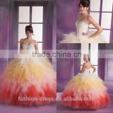 Luxury Elegant Colorful Ruffle Tulle Beaded Sweetheart Quinceanera Dresses 2014