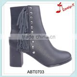 Flathead rivet decoration woman ankle boots popular woman black knight safety boots