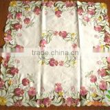 red and yellow flower lace embroidered tablecloth fabric wholesale round wedding table cover