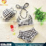 Latest Cute Baby Girl Summer Black Plaid Swimwear Japan Girl Bikini Swimwear Sexy Baby Beachwear