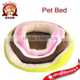 Colorful Round Sleeping Dog Bed with Bamboo Mat
