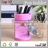 multi-functional decorative custom pen holder plastic pen drawer canister penholder huajie stationery