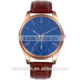 Luxury blue face concise style leather watch, classic rose gold plated men's watch, Japan movement quartz watch