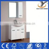 High Gloss White PVC modern bathroom cabinet with framed mirrors