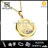 316L stainless steel good quality cubic zircon 24k gold pendant