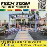 Successful Case Outdoor Event Acrylic Clear Wedding Stage With Crystal Pillars