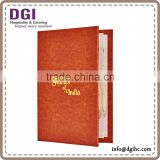 Custom Design Restaurant Menu Holder, PU Leather Cover Drink Menu Book/leather file folder
