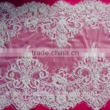 White tricot flower decorative elastic french lace, fabric lace trimming for lace wedding dresses, blouse, tops, curtain