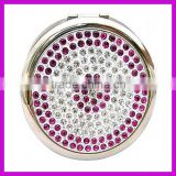 70mm size high quality rhinestone mini make up mirror for gifts