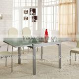 XjL833 Wholesales Modern Large Extendable Crystal Tempered Glass Dining Table, High-carton Steel Dining Room Table