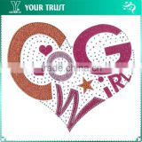 Cow Girl Letter Orange Hot Pink Glitter Heart Shape Iron-on Hot Fix Rhinestone