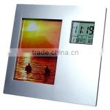 rotating digital plastic photo frame with LCD calendar clock