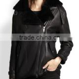 Black Shearling Leather Motocycle Jacket for Lady