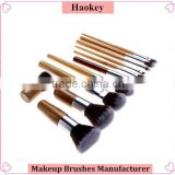 11 Pieces Makeup Brush Set Professional Bamboo Handle Premium Synthetic Kabuki Foundation Blush Cosmetics Brushes Kit With Bag