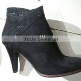 Ladies Women Middle Thin Heel Stiletto Black Winter Boot Diamond Deco