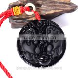 Chinese Black Natural Obsidian Carved mythical Son dragon pendant lucky jade necklace with red cord