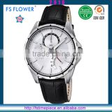 FS FLOWER - White Surface With Luminous Index Watch Quartz Chronograph Movement Watch For Men