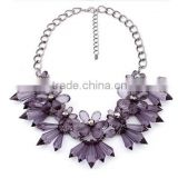 High Quality Four Color Crystal Big Six Petal Flower Taper Cabochon Pendant Metal Sweater Charm Necklaces For Women
