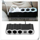 12V - 24V 4 Way Multi Socket Car Charger Vehicle Auto Car Cigarette Lighter Socket Splitter & Dual USB Ports Plug Adapter