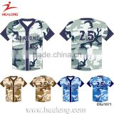 Men Plain Custom Sublimation Cheap Wholesale American Camo Baseball Softball Shirt Uniform Jerseys Sportswear Design