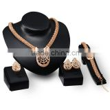 Women Fashion Necklace Earring Bracelet JW007 Wedding Bridal Jewellery Gold Plated Alibaba Jewelry Set