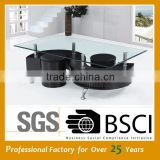 On sale promotion quality cheap glass coffee table with stools JY-01