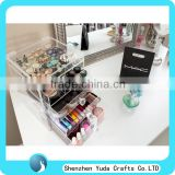 Slide out drawers makeup organizer, acrylic cosmetic storage display boxes, acrylic cosmetic makeup case